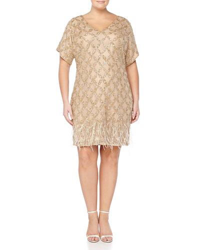 Beaded-Pattern Cocktail Dress W/ Feather Hem, Women's