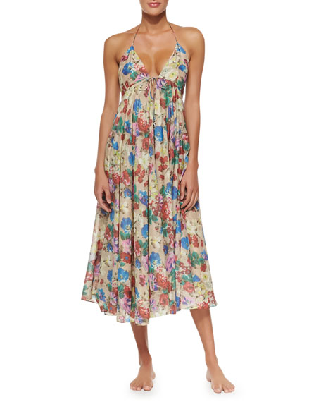 Haze Floral-Print Tie-Front Maxi Dress