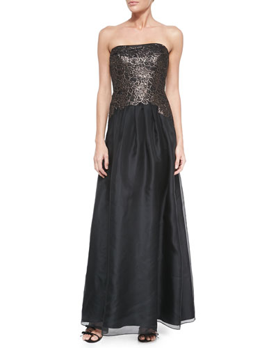 Strapless Gown W/ Floral Lace Bodice