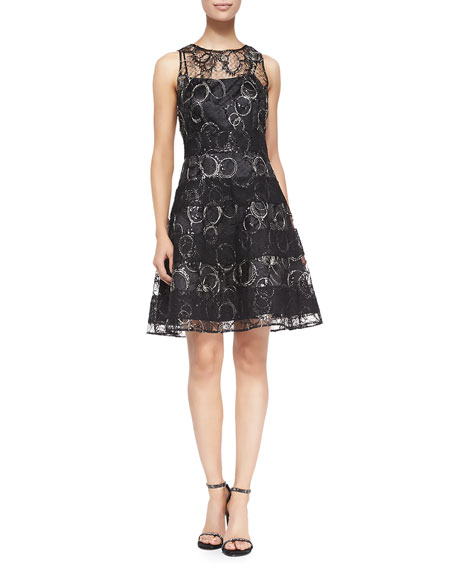 Sleeveless Metallic Circles Lace Cocktail Dress