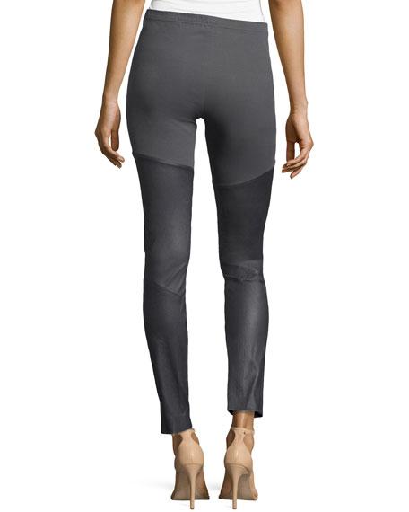 Leather/Jersey Leggings, Steel