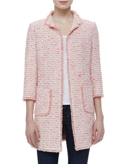 Neiman Marcus Fringe-Trim Boucle Jacket
