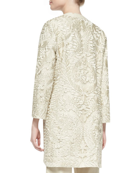 Long Embroidered Open Topper Jacket