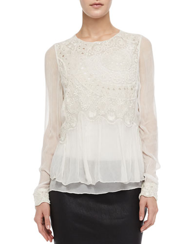 Zadig & Voltaire Thuya Embroidered Sheer Layered Top