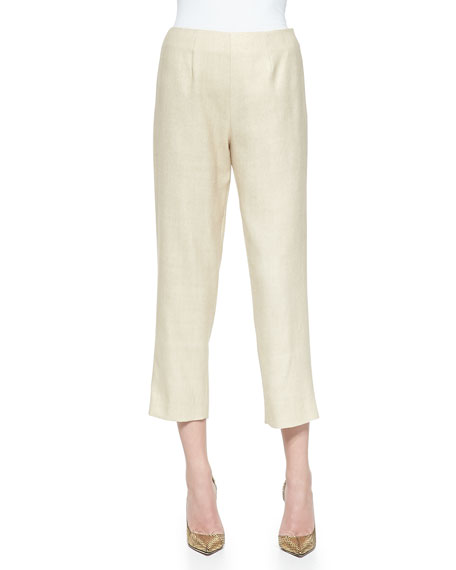 Neiman Marcus Tussah Silk-Blend Cropped Pants