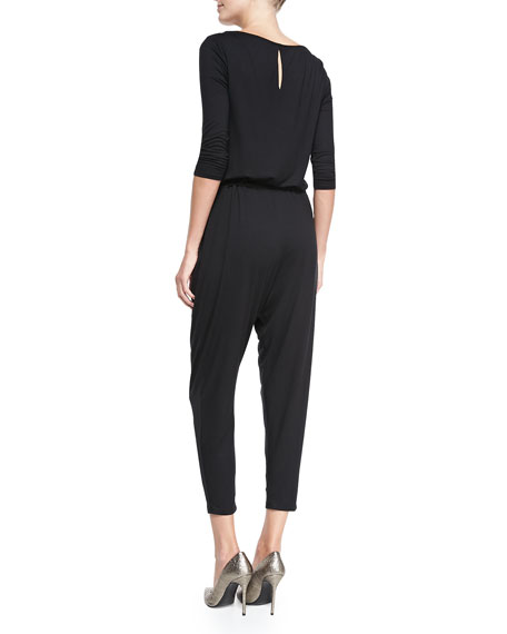3/4-Sleeve Cropped Jersey Jumpsuit