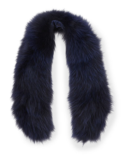 Alice + Olivia Izzy Fox Fur Collar, Navy