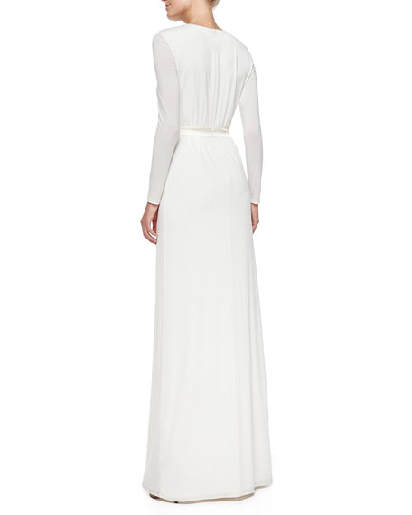 Deep V-Keyhole Jersey Gown