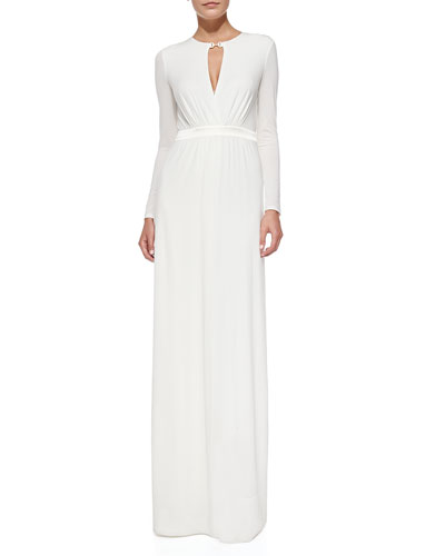 Halston Heritage Deep V-Keyhole Jersey Gown
