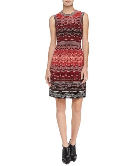 Degrade Sleeveless Ripple-Knit Dress