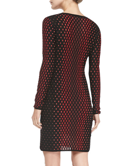 Crewneck Vertical Dash-Print Long-Sleeve Dress