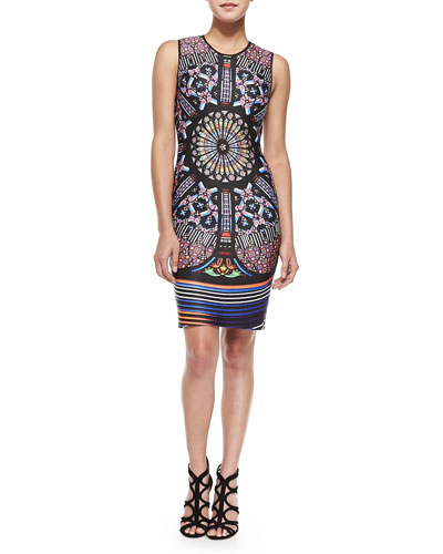 Clover Canyon Sleeveless Stained Glass-Print Sheath Dress