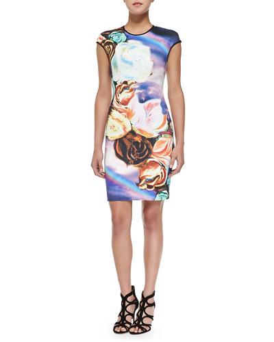 Clover Canyon Cap-Sleeve Magical Sky-Print Sheath Dress