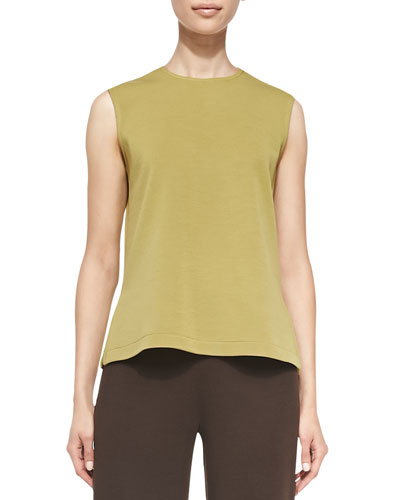 Sleeveless Crewneck Tank, Leaf Green, Petite