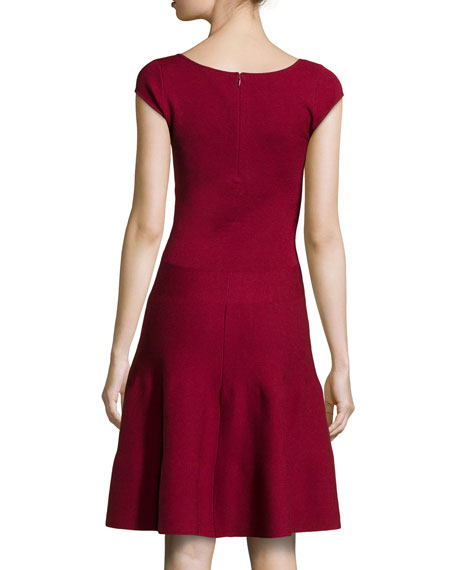 Cashmere-Blend Knit Fit-And-Flare Dress, Pomegranate