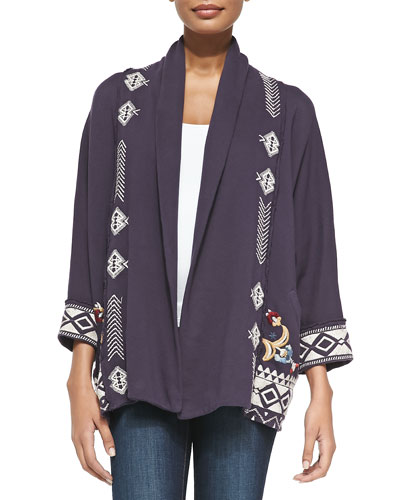 JWLA for Johnny Was Elise Open-Front Cotton Cardigan Sweater