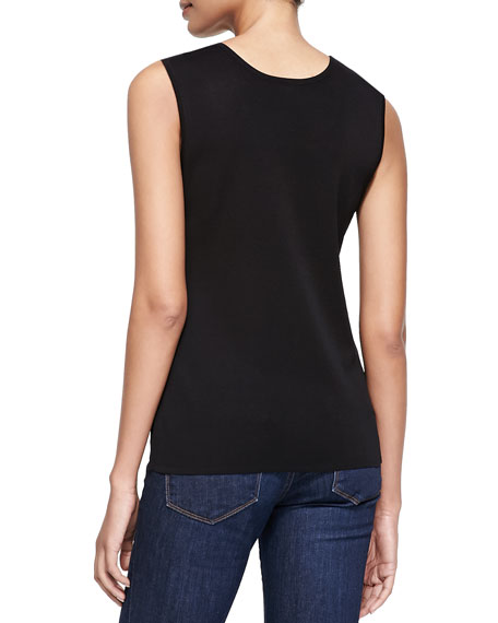 Cathy Scoop-Neck Tank, Black, Petite