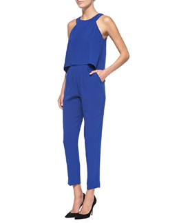 Trina Turk Kaitlin Sleeveless Layered Crepe Jumpsuit