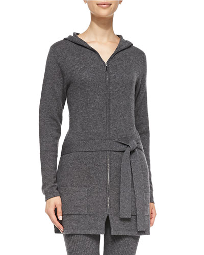 Neiman Marcus Cashmere Belted Zip-Front Cardigan