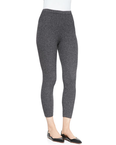 Neiman Marcus Cashmere Ribbed Leggings, Derby Gray