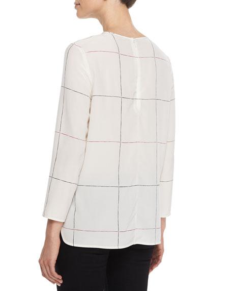Kuna Grid-Print Silk Top
