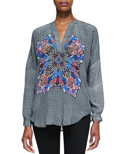 Tolani Heidi Long-Sleeve Butterfly Tunic