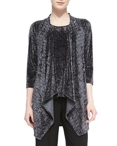Diamond Crushed Velvet Jacket, Charcoal, Women's