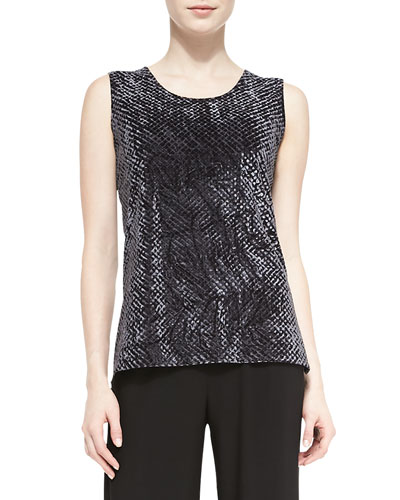 Diamond Crushed Velvet Tank, Charcoal, Petite