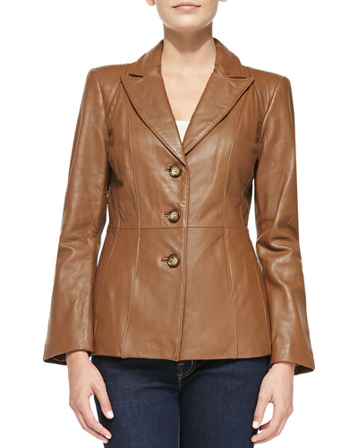 Neiman Marcus Three-Button Bell-Sleeve Leather Blazer