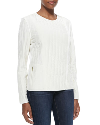 Silk Quilted Jacket, Soft White, Women's