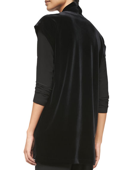 Long Velvet Tunic Vest, Women's