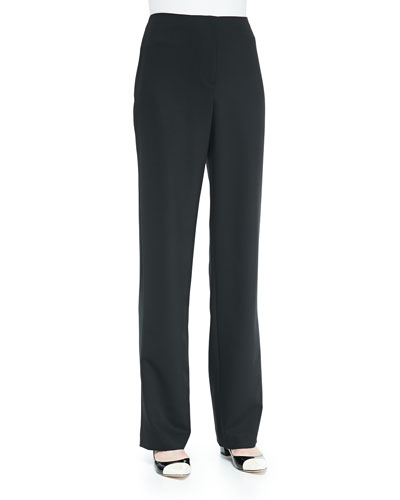 Travel Gabardine Straight-Leg Pants, Black, Women's