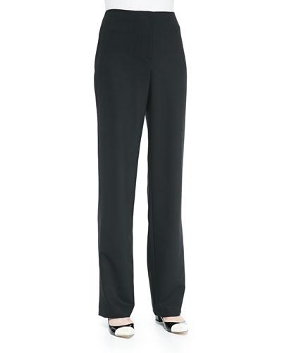 Travel Gabardine Straight-Leg Pants, Black, Women's