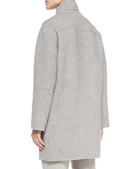 Vince Rabbit Fur-Lined Hood Felt Coat
