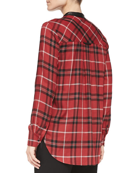 Leather-Trim Plaid Shirt, Claret