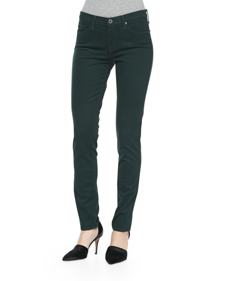 AG Prima Sateen Mid-Rise Jeans, Rainforest Green