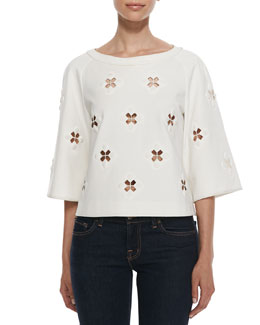 Tibi 3/4-Sleeve Boutis Embroidery Cutout Top