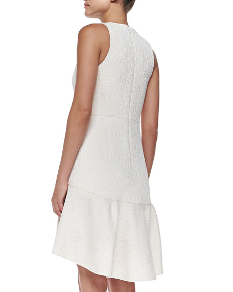 Embossed Cloque Ruffle Dress
