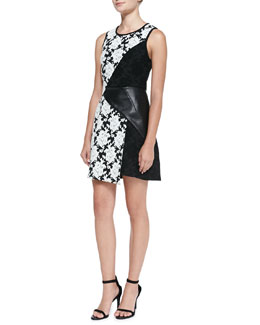 Tibi Faux-Leather and Floral Tapestry Dress