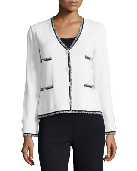 St. John Collection Fringe-Trimmed V-Neck Jacket, Bright White