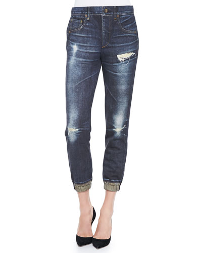 rag & bone/JEAN Sheffield Distressed-Print Pajama Jeans
