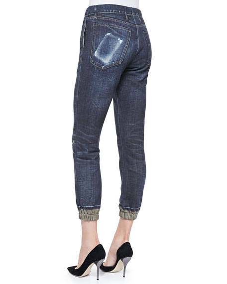 Sheffield Distressed-Print Pajama Jeans