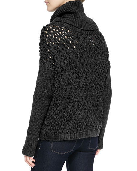 Alice + Olivia Chunky Drop-Shoulder Turtleneck Sweater