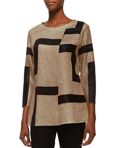 3/4-Sleeve Abstract Modern Jacket, Gold, Petite
