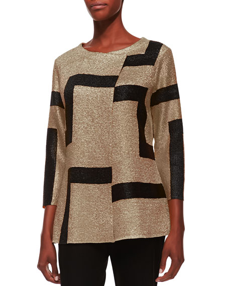 Berek 3/4-Sleeve Abstract Modern Jacket, Gold, Plus Size