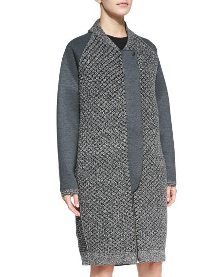 Mixed-Knit Front-Zip Overcoat