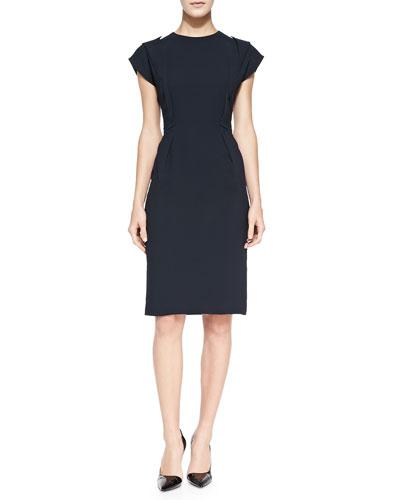 O'2nd Fold-Detail Crepe Sheath Dress