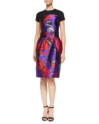 Risto Printed Dress with Jersey Yoke, Red Multi
