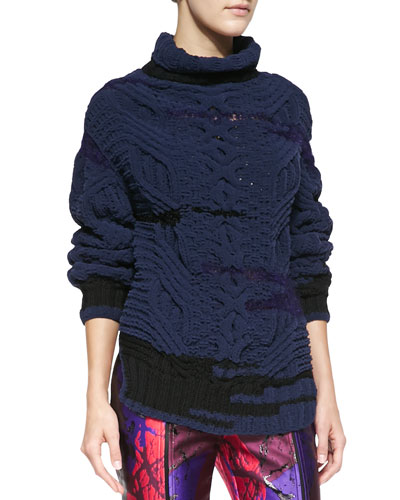 Risto Chunky Knit Colorblock Turtleneck Sweater