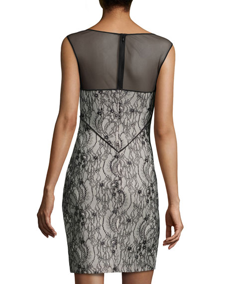 Sleeveless Mesh-Inset Lace Dress, Black